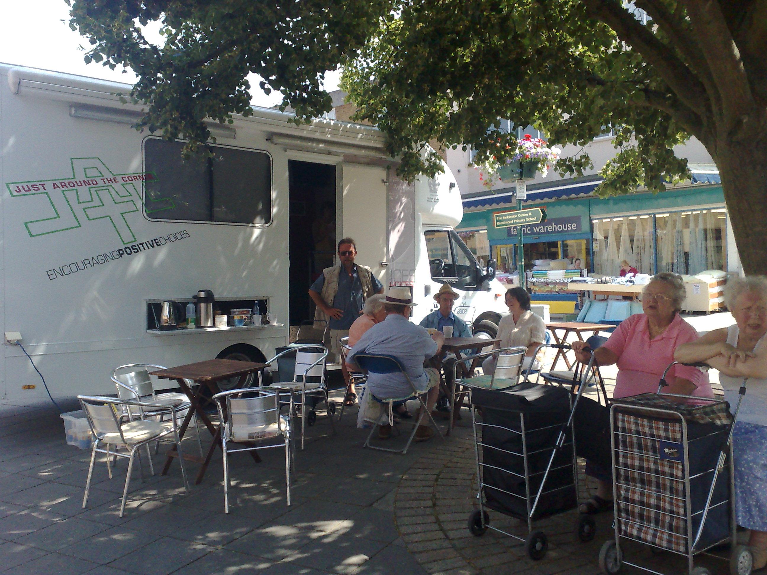 Van offering Free tea & Coffee